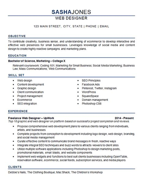 web designer resume  development seo social media