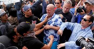 Donald Trump protesters turn violent at California rally ...