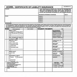 Blank Acord Certificate Of Insurance