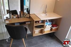 Petit Meuble Salle De Bain : tuto fabriquer un meuble vasque de salle de bain ~ Teatrodelosmanantiales.com Idées de Décoration