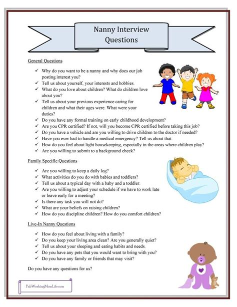 au pair daily schedule template nanny interview questions grab your printable checklist