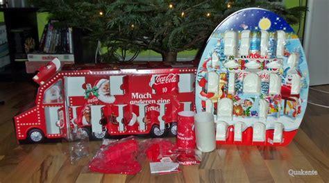 coca cola adventskalender 2016 adventskalender 2015 kinder 220 berraschung friends coca cola 171 quakente s produkttest