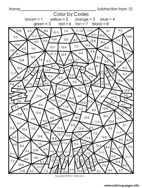print color  number adults maths coloring pages math
