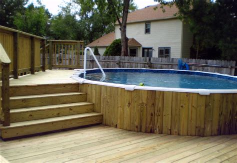 Backyard Swimming Pools Above Ground by Awesome Backyard Swimming Pool Decks Above Ground Designs