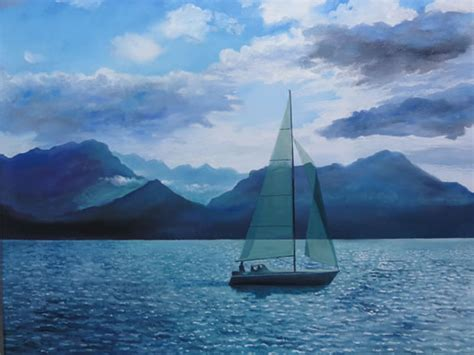 Sailing Boat Art by Boat Sailing On Lake At Montreux Gallery Of Art By