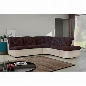 Canapé D Angle Modulable : canap d 39 angle modulable en tissu chocolat ivoire daniela ~ Melissatoandfro.com Idées de Décoration