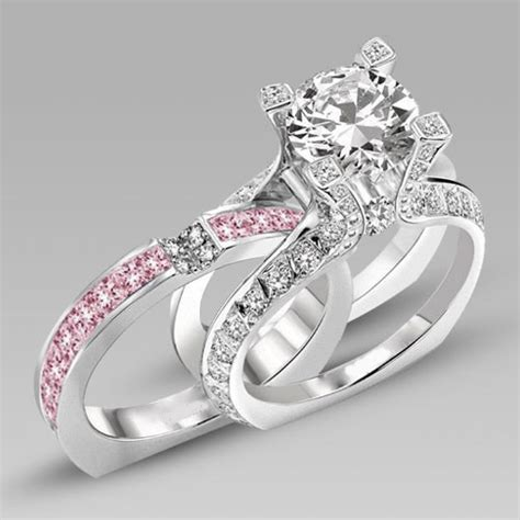 white and pink cubic zirconia silver white gold filled