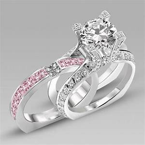 white and pink cubic zirconia silver white gold filled With pink and silver wedding rings