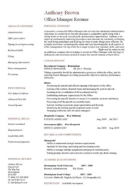 Assistant Manager Cv Exle by Office Manager Cv Sle Resume Ideas Office Manager