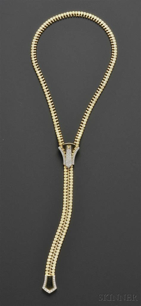 18kt Gold And Diamond Zipper Necklace  Sale Number 2586b. 42 Carat Diamond. Druid Pendant. Woman Bands. Type 1 Diabetes Bracelet. Aries Pendant. Colorful Diamond. Key Pendant. Antique Gold Wedding Rings