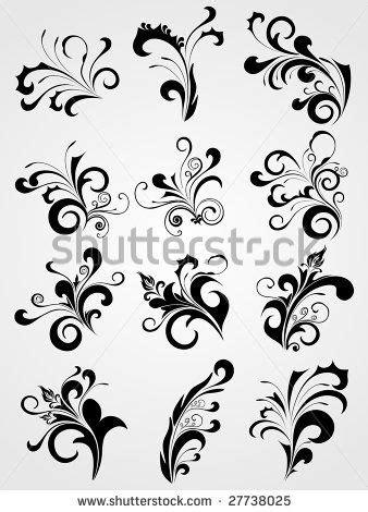 filigree designs set  antique black tattoos clipart
