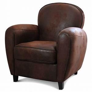 Fauteuil Crapaud Cuir : fauteuil club en microfibre aspect cuir vieilli marron ~ Teatrodelosmanantiales.com Idées de Décoration