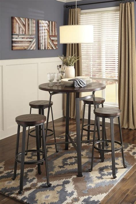 challiman  dining room bar table  tall stools