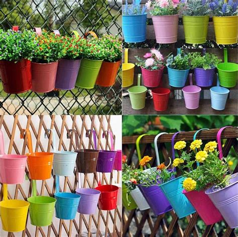 pc colorful metal flower pots   hanging fence