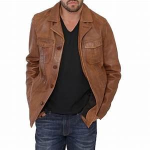 veste cuir oakwood jagger marron pour homme With veste cuir carreaux homme