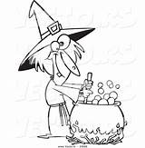 Witch Cartoon Coloring Potion Stirring Face Drawing Outlined Warted Vector Leishman Ron Getdrawings Royalty sketch template