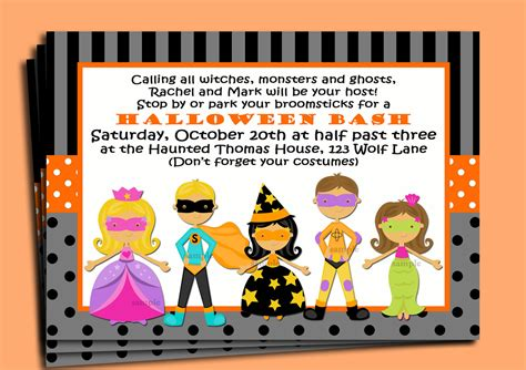 kids halloween invitation cards festival collections