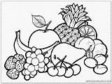 Coloring Basket Fruits Fruit Colouring Popular sketch template