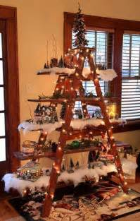 tree decorating idea ladder display shelf country times