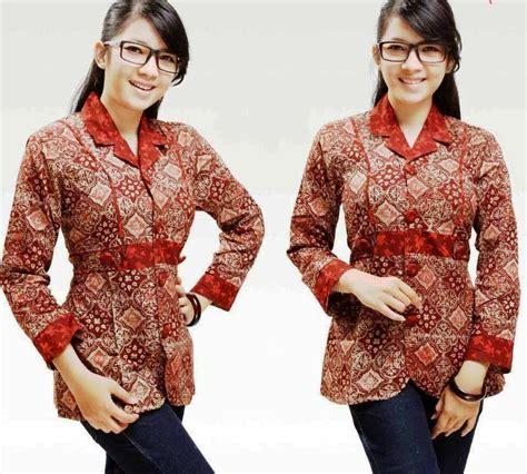 ッ 31 baju batik kantor wanita lengan panjang modern terbaru