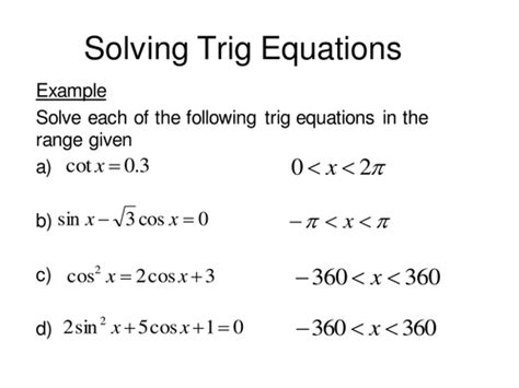 Solving Trig Equations Continued By Sjcooper  Teaching Resources Tes