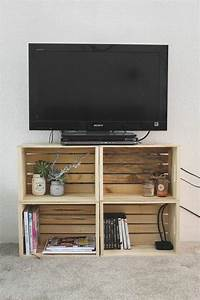 Petite Tv Ecran Plat : meuble en palette 34 id es fra ches de diy d co naturelle ~ Nature-et-papiers.com Idées de Décoration