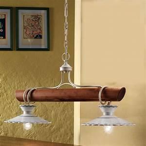Außergewöhnliche Möbel Günstig : au ergew hnliche landhaus lampe mit rustikalem holzbalken und zwei oder drei lichtquellen von ~ Sanjose-hotels-ca.com Haus und Dekorationen