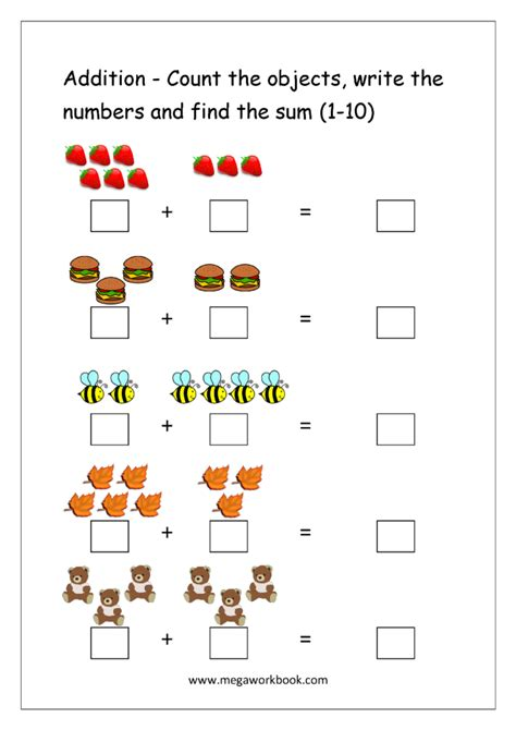 counting addition worksheets educational coloring pages