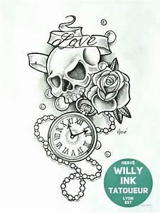 Dessin Tete De Mort Avec Rose : t te de mort avec une rose et horloge willy ink tatoueur lyon est ~ Melissatoandfro.com Idées de Décoration