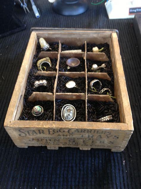egg crate ring display black wild rice  rock jewellery studio jewellery display ring