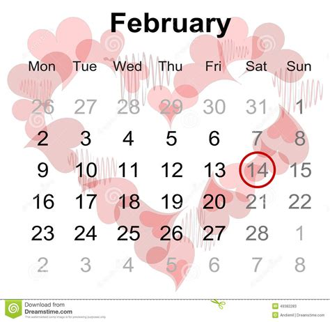 calendar february marked valentines day stock