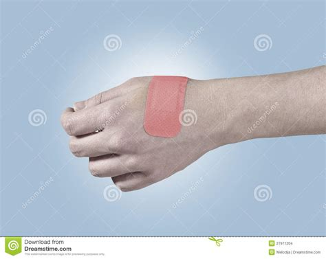 adhesive healing plaster  hand stock images image