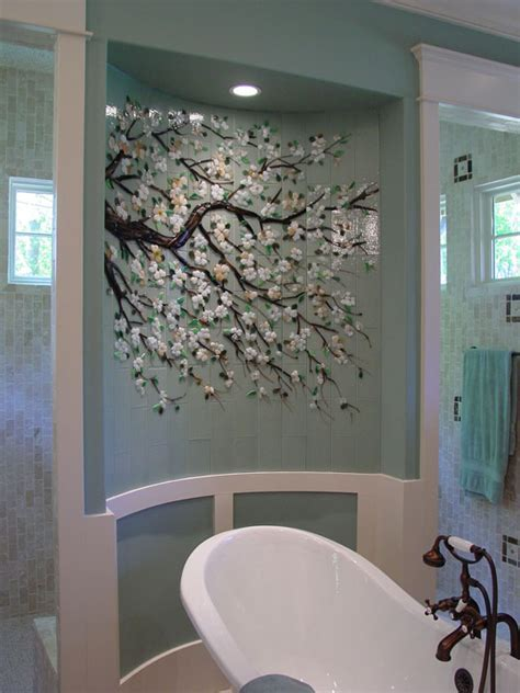 Dogwood branch mural in fused glass tiles
