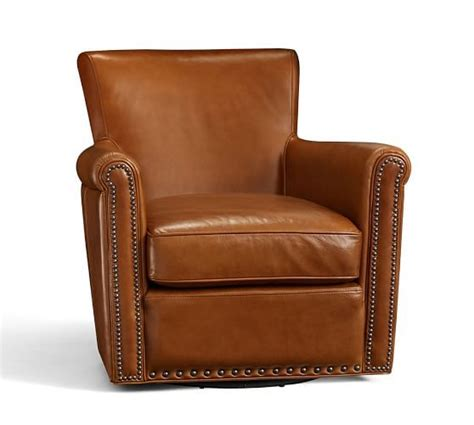 Pottery Barn Irving Chair Recliner by Irving Leather Swivel Armchair With Nailheads Pottery