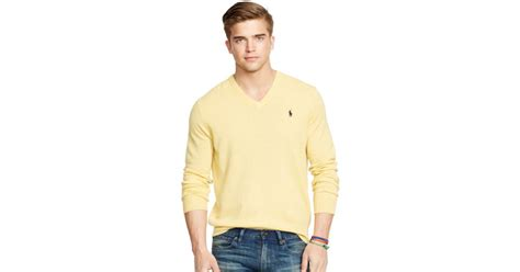 Polo Ralph Lauren Wool V-neck Sweater In Yellow For Men