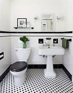 31 retro black white bathroom floor tile ideas and pictures for Black and white bathrooms images