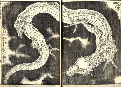 dragon   japanese artist hokusai woodcut