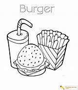 Coloring Burger Fries Dog Drink Sheet Hamburger Popular French sketch template