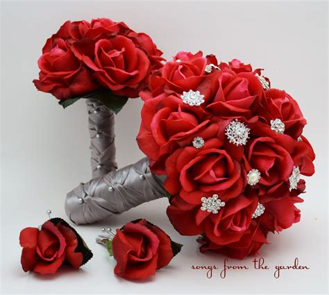 Red Roses And Rhinestones Bridal Bouquet Real Touch Bridal