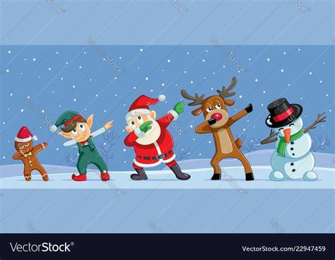 dabbing christmas cartoon characters funny banner vector image
