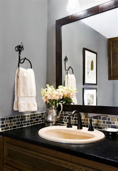 Bathroom Mirror Cost by Mosaic Tile Border And Black Framed Mirror With The Gray