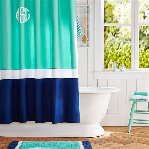 Color Block Pool Royal Navy Shower Curtain