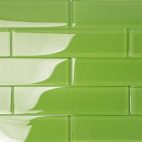 green subway tile kitchen backsplash shop for loft electric lime 2x8 polished glass tiles at