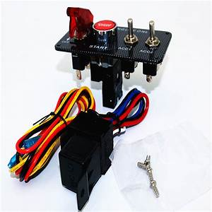 12v Ignition Switch Engine Start Push Button 3 Toggle Panel With Indicator Light Diy Racing