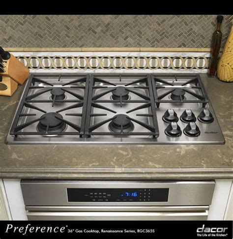 dacor rgcsng   gas cooktop   sealed burners automatic reignition illumina burner