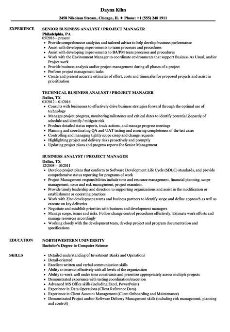 business analyst project manager resume samples velvet jobs