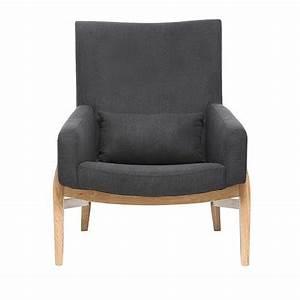 fauteuil design kyoto gris anthracite pieds bois pas cher With fauteuil pied bois pas cher