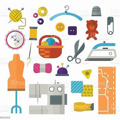 Tools Equipment Sewing Knitting Hand Clip Vector