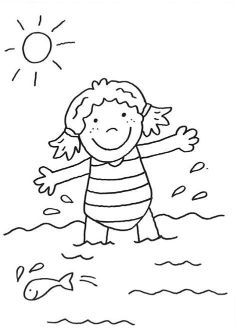 kostenlose malvorlage rund ums spielen maedchen im meer