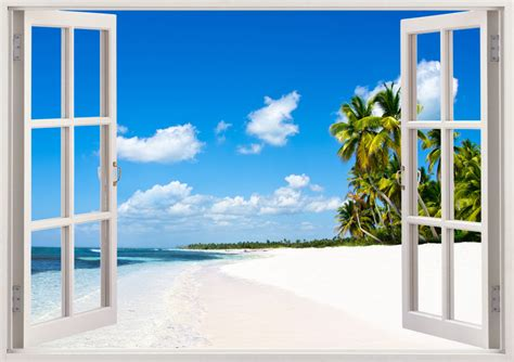 3d Window Ocean View Blue Sea Home Decor Wall Sticker: Beautiful Beach Mural And Tropical Sea Wall Sticker 3D Window